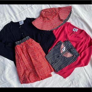 Petite Bateau red & navy clothing bundle, girls size 10